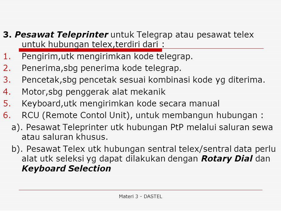 3. Pesawat Teleprinter untuk Telegrap atau pesawat telex untuk hubungan telex,terdiri dari : 1.Pengirim,utk mengirimkan kode telegrap. 2.Penerima,sbg