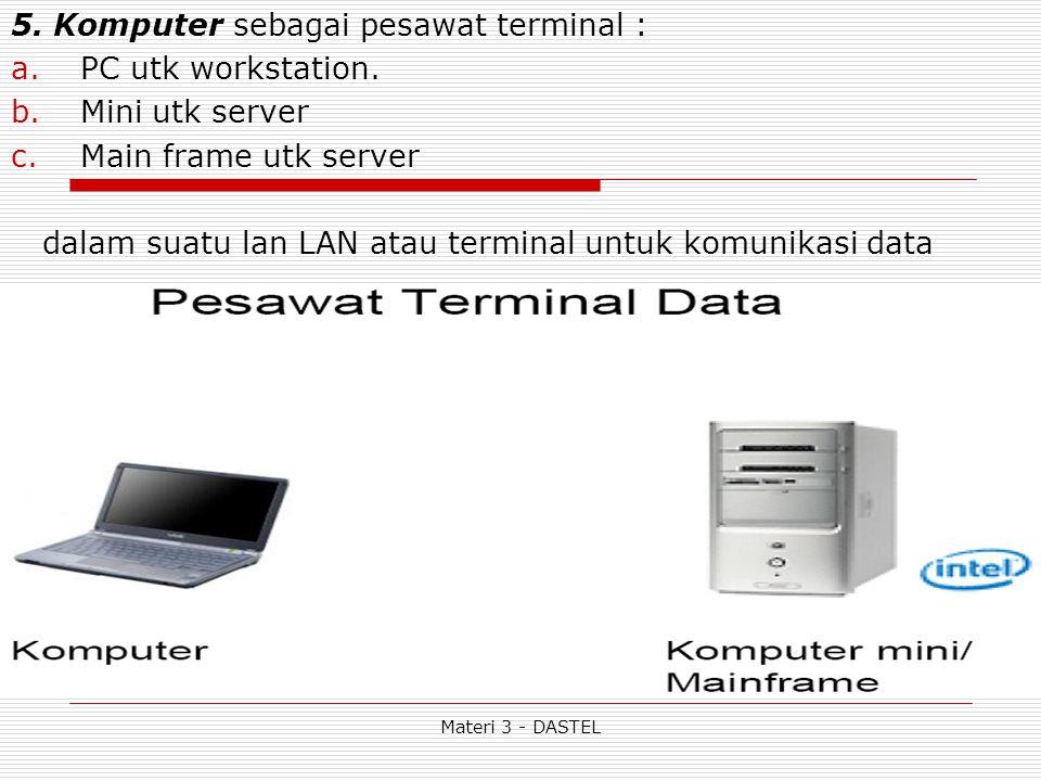Materi 3 - DASTEL 5. Komputer sebagai pesawat terminal : a.PC utk workstation.