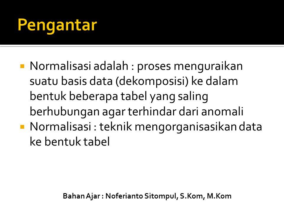  Normalisasi adalah : proses menguraikan suatu basis data (dekomposisi) ke dalam bentuk beberapa tabel yang saling berhubungan agar terhindar dari an