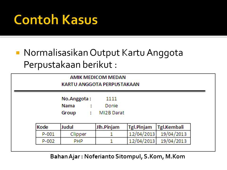 Bahan Ajar : Noferianto Sitompul, S.Kom, M.Kom  Normalisasikan Output Kartu Anggota Perpustakaan berikut :