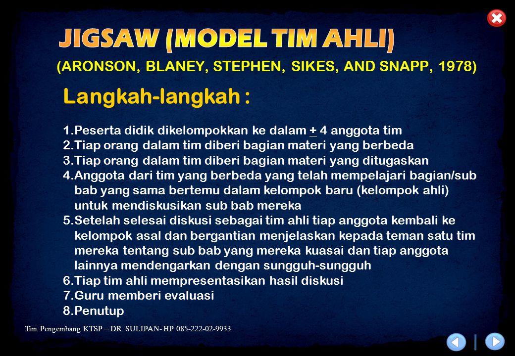 Tim Pengembang KTSP – DR. SULIPAN- HP. 085-222-02-9933 (ARONSON, BLANEY, STEPHEN, SIKES, AND SNAPP, 1978) Langkah-langkah : 1.Peserta didik dikelompok
