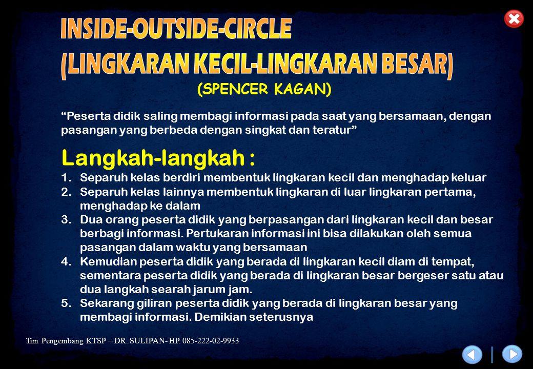Tim Pengembang KTSP – DR. SULIPAN- HP. 085-222-02-9933 (SPENCER KAGAN) Langkah-langkah : 1.Separuh kelas berdiri membentuk lingkaran kecil dan menghad