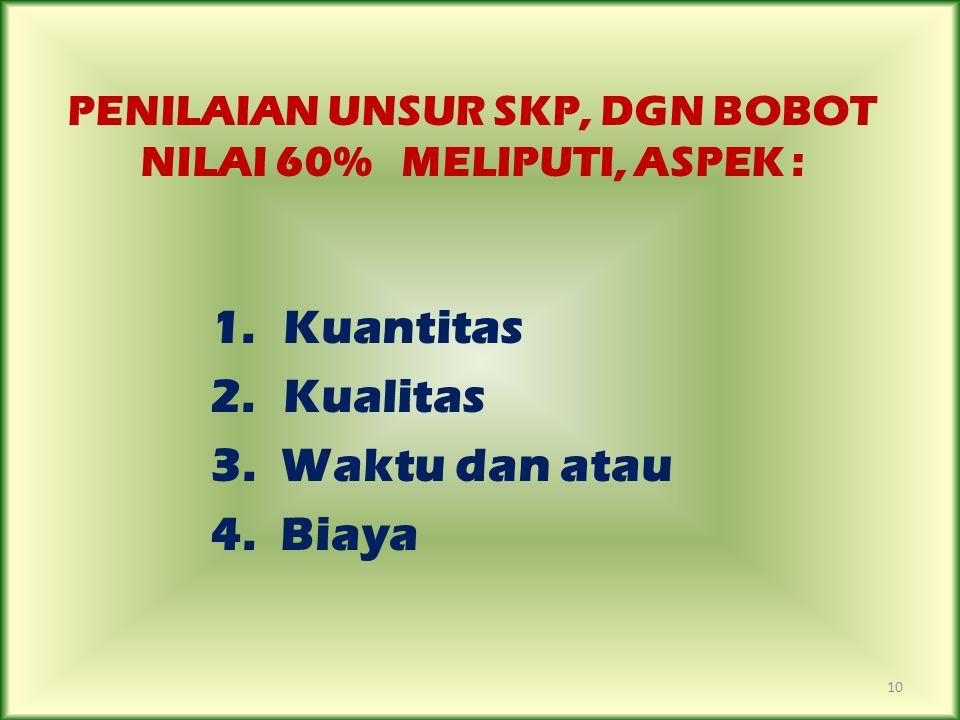 PENILAIAN UNSUR SKP, DGN BOBOT NILAI 60% MELIPUTI, ASPEK : 1. Kuantitas 2. Kualitas 3. Waktu dan atau 4. Biaya 10