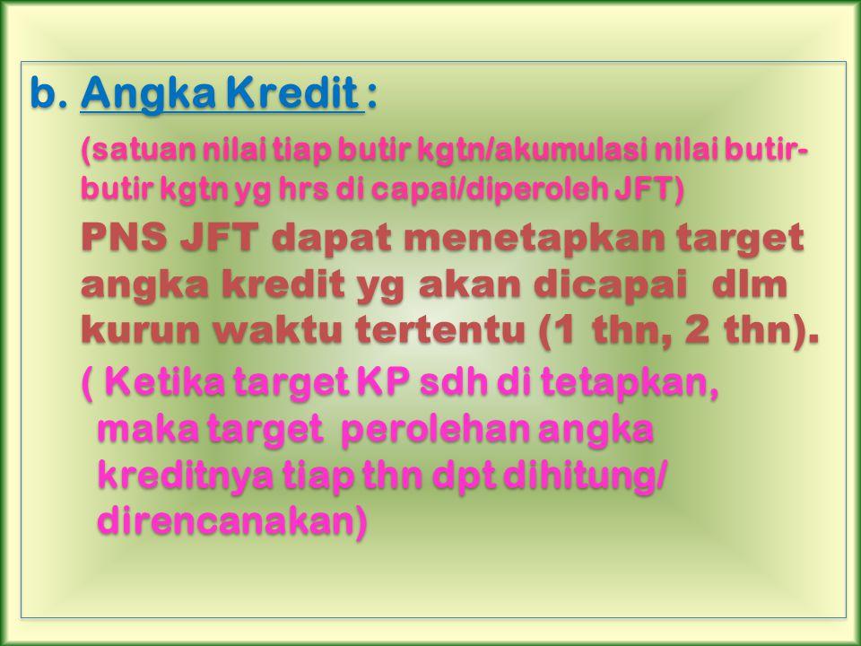 b.Angka Kredit : (satuan nilai tiap butir kgtn/akumulasi nilai butir- butir kgtn yg hrs di capai/diperoleh JFT) PNS JFT dapat menetapkan target angka