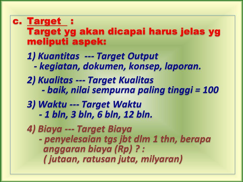 c.Target : Target yg akan dicapai harus jelas yg meliputi aspek: 1) Kuantitas --- Target Output - kegiatan, dokumen, konsep, laporan. 2) Kualitas ---