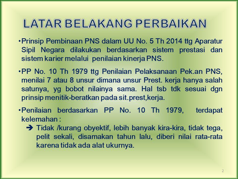 2 Prinsip Pembinaan PNS dalam UU No. 5 Th 2014 ttg Aparatur Sipil Negara dilakukan berdasarkan sistem prestasi dan sistem karier melalui penilaian kin