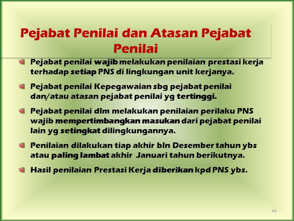 44 Pejabat penilai wajib melakukan penilaian prestasi kerja terhadap setiap PNS di lingkungan unit kerjanya. Pejabat penilai Kepegawaian sbg pejabat p
