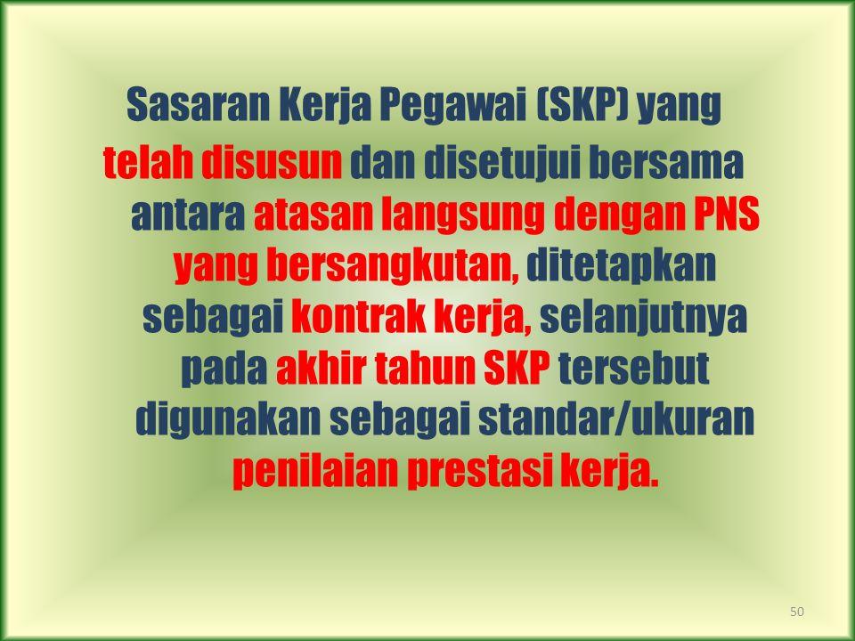 50 Sasaran Kerja Pegawai (SKP) yang telah disusun dan disetujui bersama antara atasan langsung dengan PNS yang bersangkutan, ditetapkan sebagai kontra