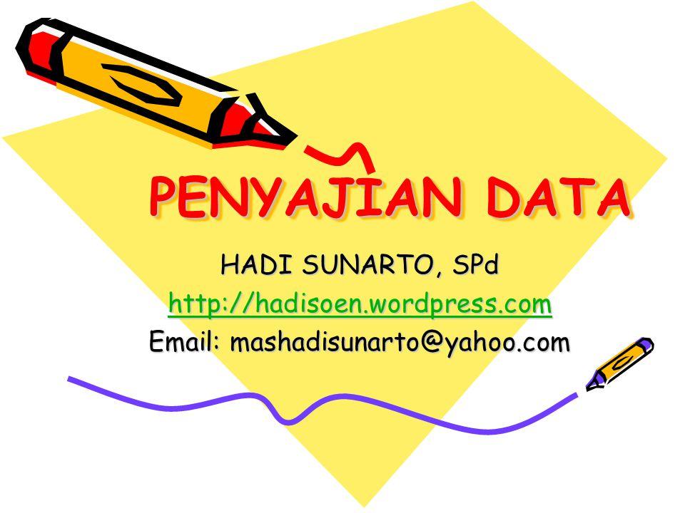 PENYAJIAN DATA HADI SUNARTO, SPd http://hadisoen.wordpress.com Email: mashadisunarto@yahoo.com