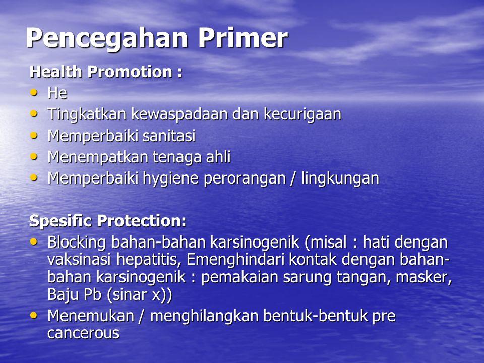 Pencegahan Primer Health Promotion : He He Tingkatkan kewaspadaan dan kecurigaan Tingkatkan kewaspadaan dan kecurigaan Memperbaiki sanitasi Memperbaik