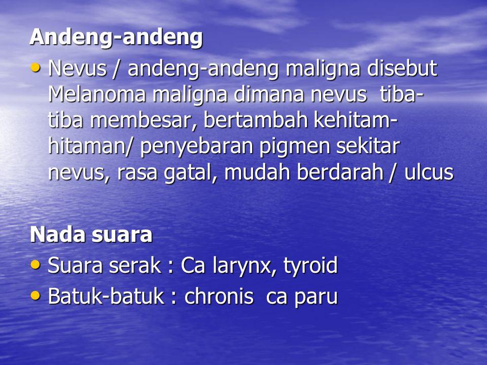 Andeng-andeng Nevus / andeng-andeng maligna disebut Melanoma maligna dimana nevus tiba- tiba membesar, bertambah kehitam- hitaman/ penyebaran pigmen s