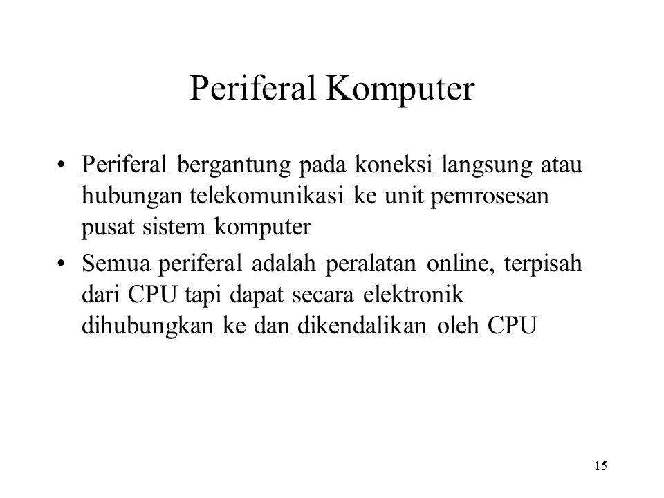 15 Periferal Komputer Periferal bergantung pada koneksi langsung atau hubungan telekomunikasi ke unit pemrosesan pusat sistem komputer Semua periferal