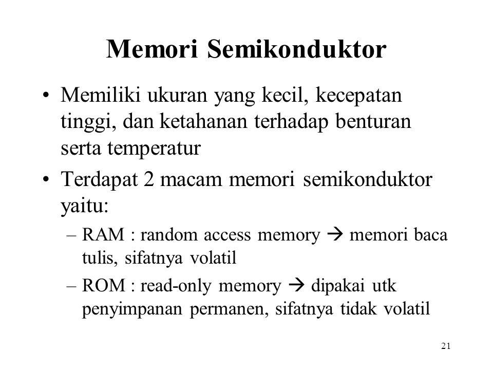 21 Memori Semikonduktor Memiliki ukuran yang kecil, kecepatan tinggi, dan ketahanan terhadap benturan serta temperatur Terdapat 2 macam memori semikon