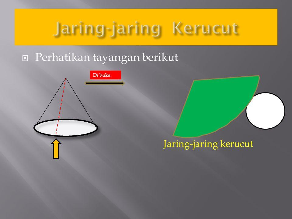 KERUCUT Volume Luas Luas permukaan Jaring-jaring kerucut