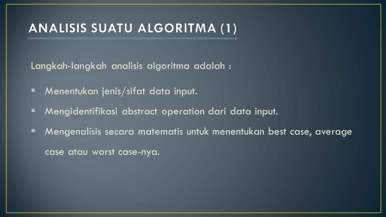 Langkah-langkah analisis algoritma adalah :  Menentukan jenis/sifat data input.  Mengidentifikasi abstract operation dari data input.  Mengenalisis