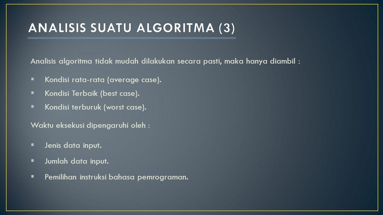 Analisis algoritma tidak mudah dilakukan secara pasti, maka hanya diambil :  Kondisi rata-rata (average case).  Kondisi Terbaik (best case).  Kondi