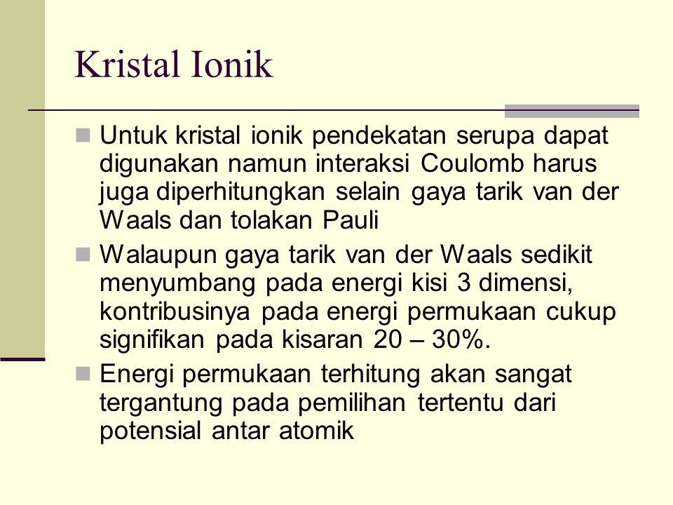 Kristal Ionik Untuk kristal ionik pendekatan serupa dapat digunakan namun interaksi Coulomb harus juga diperhitungkan selain gaya tarik van der Waals dan tolakan Pauli Walaupun gaya tarik van der Waals sedikit menyumbang pada energi kisi 3 dimensi, kontribusinya pada energi permukaan cukup signifikan pada kisaran 20 – 30%.