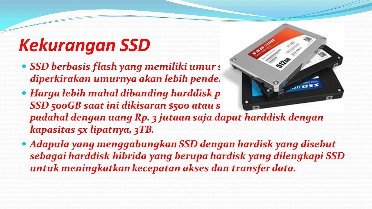 Komponen utama dari SSD adalah kontroler dan memory untuk menyimpan data Sejak saat pertama dibuat SSD menggunakan DRAM volatile memory(masih tergantung listrik untuk mempertahankan data) namun sejak 2009 digunakan NAND flash non-volatile memory(tidak tergantung listrik untuk mempertahankan data).