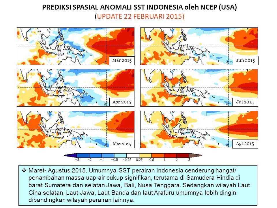PREDIKSI SPASIAL ANOMALI SST INDONESIA oleh NCEP (USA) (UPDATE 22 FEBRUARI 2015) May 2015 Jun 2015 Mar 2015 Jul 2015 Agt 2015 Apr 2015  Maret- Agustu