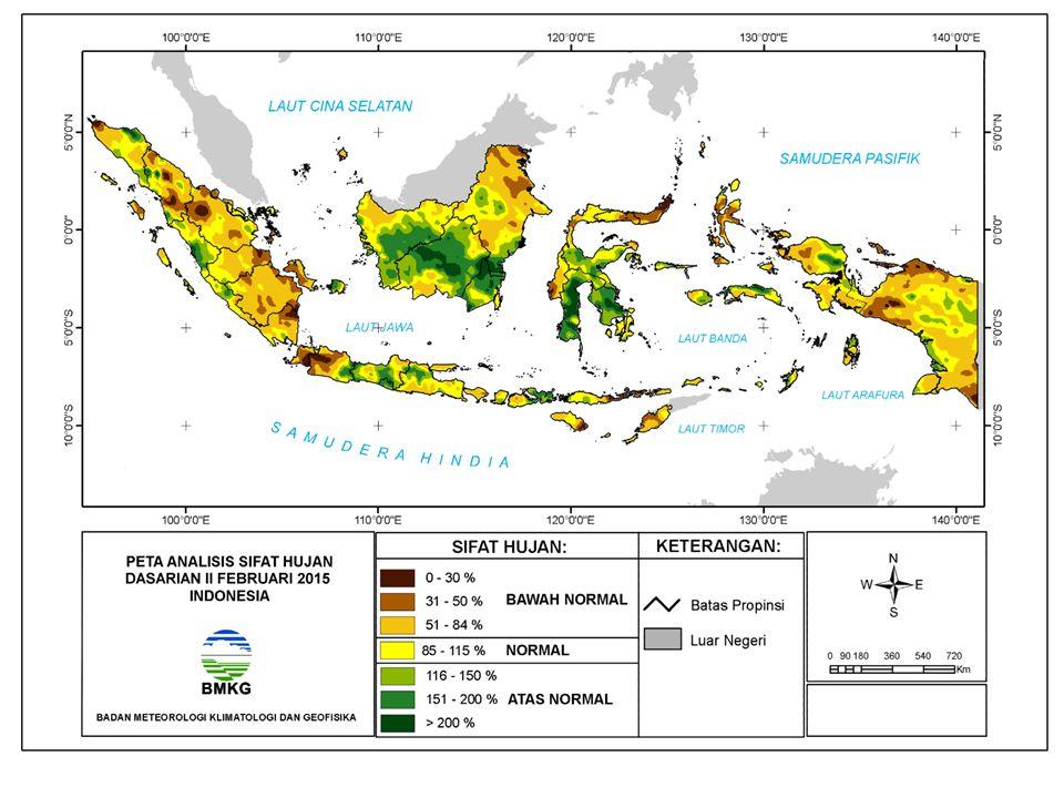 NORMAL DM (+) Kuat DM (-) Kuat Aliran massa uap air dari Indonesia ke Afrika Timur Aliran massa uap air dari Afrika Timur ke Indonesia BMKG PREDIKSI INDEKS DIPOLE MODE (UPDATE 22 FEBRUARI 2015 PREDIKSI INDEKS DIPOLE MODE (UPDATE 22 FEBRUARI 2015) Kesimpulan: Prediksi Indeks Dipole Mode Februari s/d Juli 2015: Normal/penambahan Curah Hujan kurang signifikan di Indonesia bagian barat.