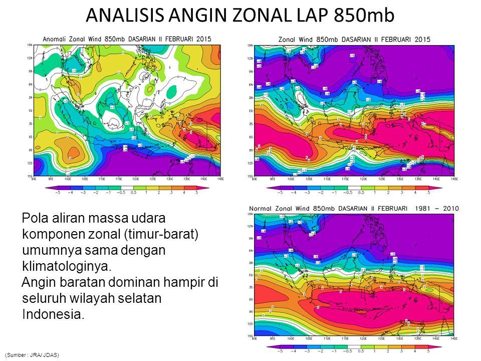 ANALISIS ANGIN ZONAL LAP 850mb Pola aliran massa udara komponen zonal (timur-barat) umumnya sama dengan klimatologinya. Angin baratan dominan hampir d