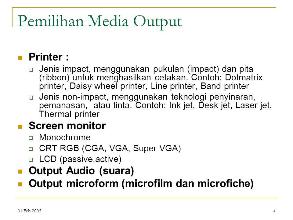 01 Feb 20054 Pemilihan Media Output Printer :  Jenis impact, menggunakan pukulan (impact) dan pita (ribbon) untuk menghasilkan cetakan. Contoh: Dotma