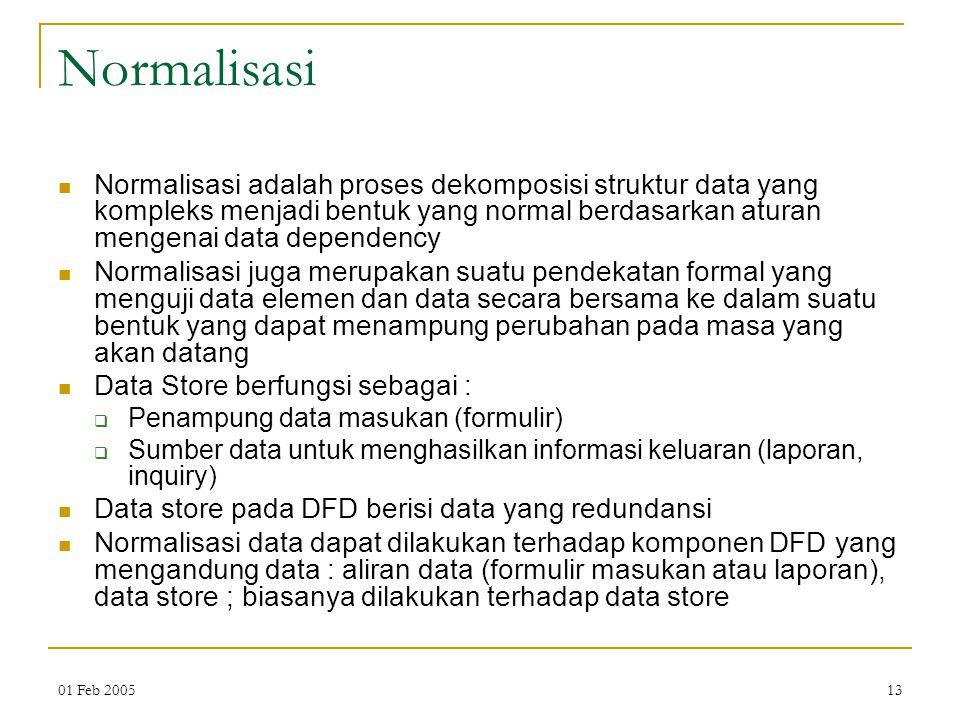 01 Feb 200513 Normalisasi Normalisasi adalah proses dekomposisi struktur data yang kompleks menjadi bentuk yang normal berdasarkan aturan mengenai dat