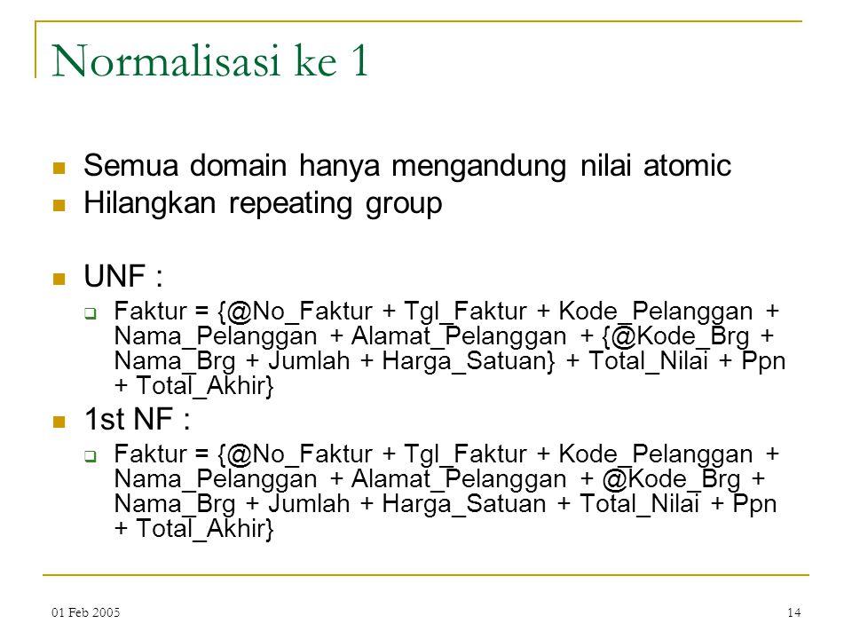 01 Feb 200514 Normalisasi ke 1 Semua domain hanya mengandung nilai atomic Hilangkan repeating group UNF :  Faktur = {@No_Faktur + Tgl_Faktur + Kode_P