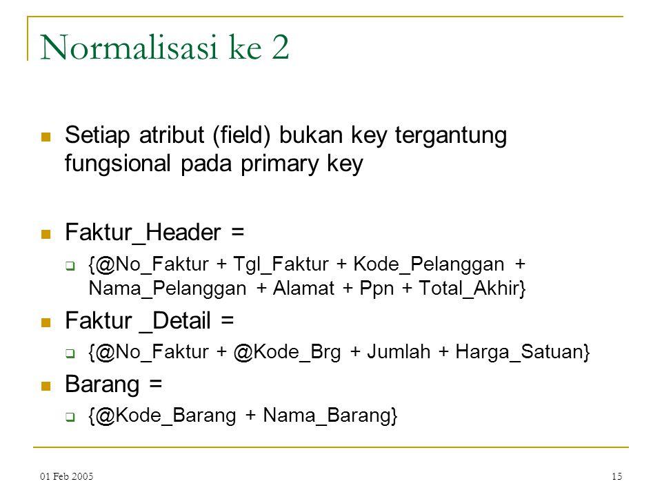 01 Feb 200515 Normalisasi ke 2 Setiap atribut (field) bukan key tergantung fungsional pada primary key Faktur_Header =  {@No_Faktur + Tgl_Faktur + Ko