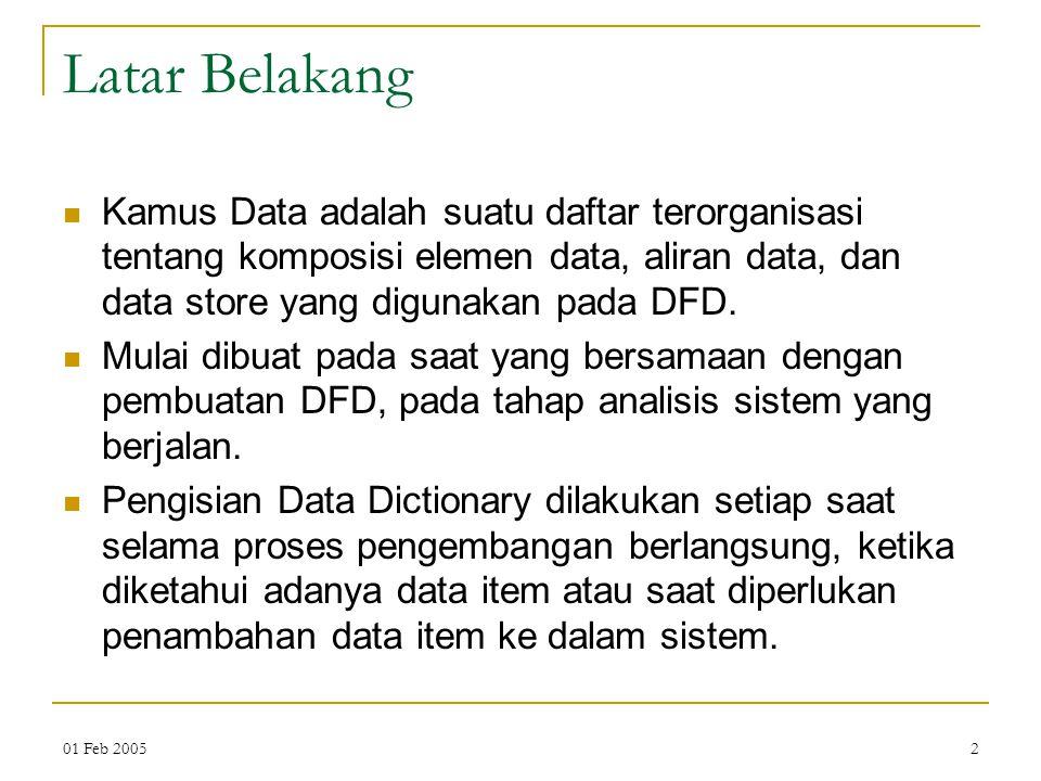 01 Feb 20052 Latar Belakang Kamus Data adalah suatu daftar terorganisasi tentang komposisi elemen data, aliran data, dan data store yang digunakan pad