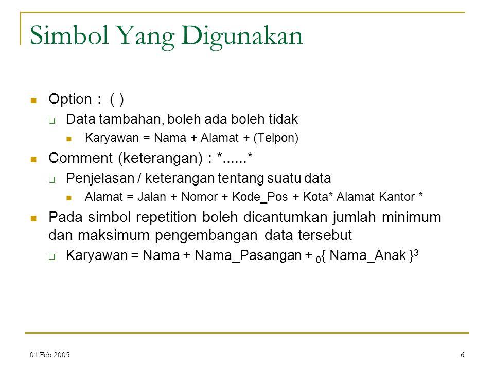 01 Feb 20056 Simbol Yang Digunakan Option : ( )  Data tambahan, boleh ada boleh tidak Karyawan = Nama + Alamat + (Telpon) Comment (keterangan) : *...