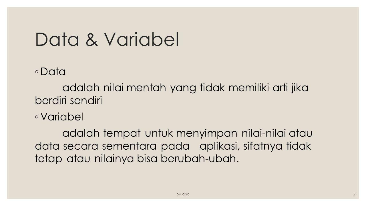 Data & Variabel ◦ Data adalah nilai mentah yang tidak memiliki arti jika berdiri sendiri ◦ Variabel adalah tempat untuk menyimpan nilai-nilai atau dat