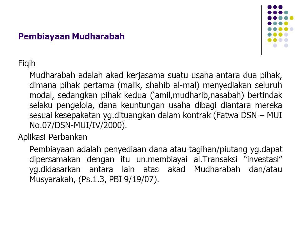 Pembiayaan Mudharabah Fiqih Mudharabah adalah akad kerjasama suatu usaha antara dua pihak, dimana pihak pertama (malik, shahib al-mal) menyediakan sel