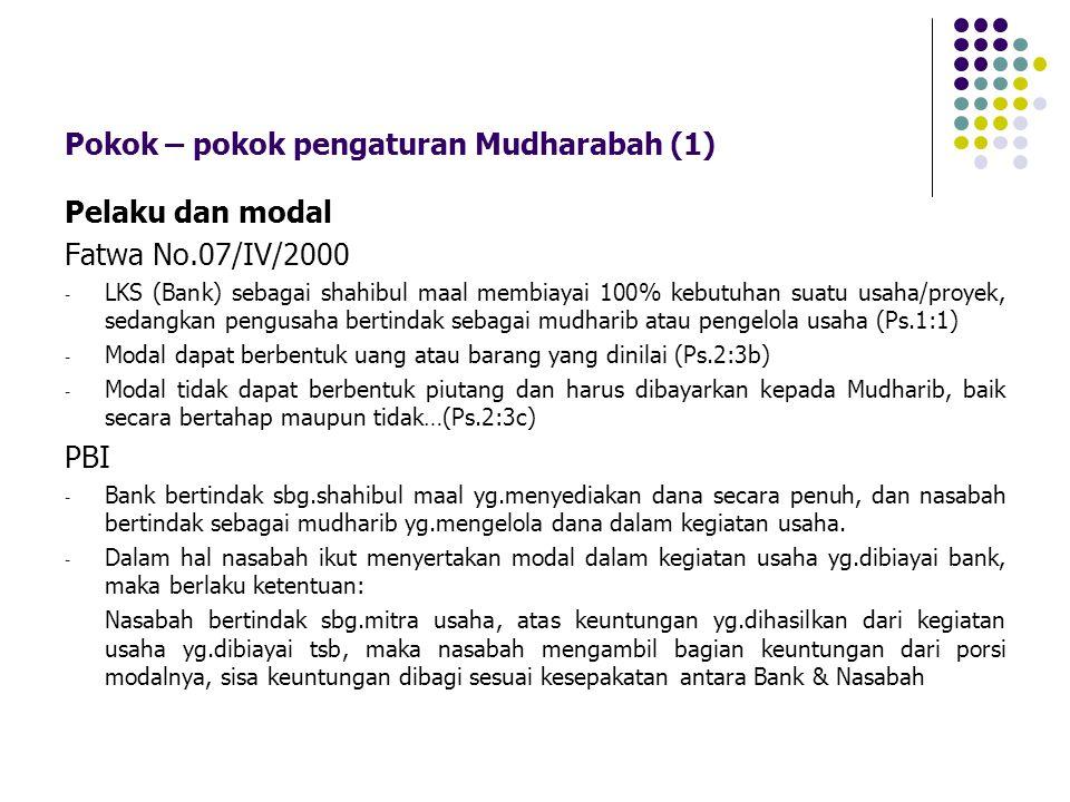 Pokok – pokok pengaturan Mudharabah (1) Pelaku dan modal Fatwa No.07/IV/2000 - LKS (Bank) sebagai shahibul maal membiayai 100% kebutuhan suatu usaha/p