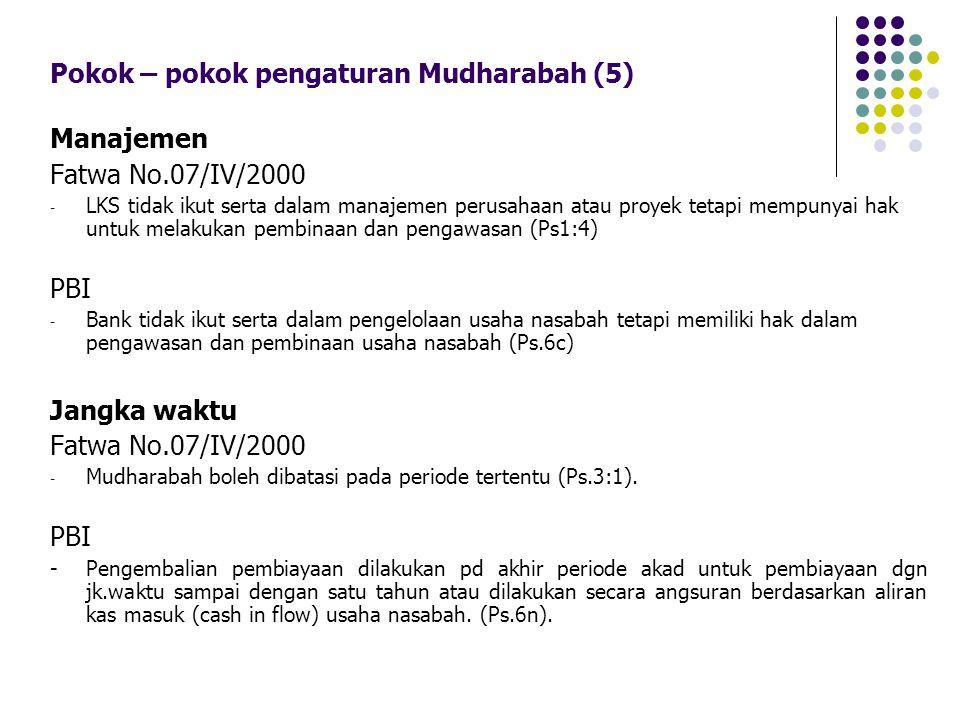 Pokok – pokok pengaturan Mudharabah (5) Manajemen Fatwa No.07/IV/2000 - LKS tidak ikut serta dalam manajemen perusahaan atau proyek tetapi mempunyai h