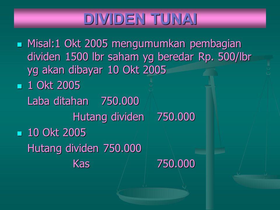 DIVIDEN TUNAI Misal:1 Okt 2005 mengumumkan pembagian dividen 1500 lbr saham yg beredar Rp. 500/lbr yg akan dibayar 10 Okt 2005 Misal:1 Okt 2005 mengum