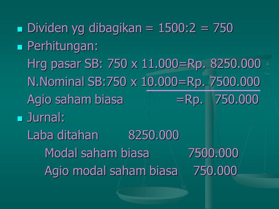 Dividen yg dibagikan = 1500:2 = 750 Dividen yg dibagikan = 1500:2 = 750 Perhitungan: Perhitungan: Hrg pasar SB: 750 x 11.000=Rp. 8250.000 N.Nominal SB