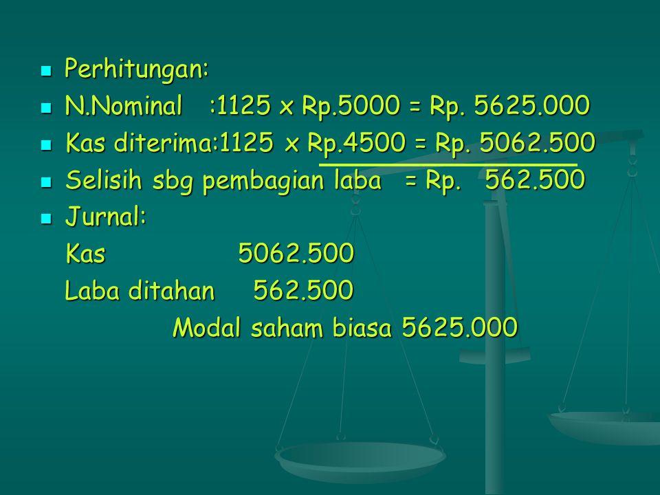 Perhitungan: Perhitungan: N.Nominal :1125 x Rp.5000 = Rp. 5625.000 N.Nominal :1125 x Rp.5000 = Rp. 5625.000 Kas diterima:1125 x Rp.4500 = Rp. 5062.500