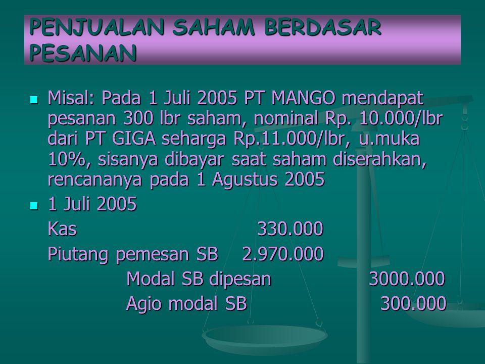 PENJUALAN SAHAM BERDASAR PESANAN Misal: Pada 1 Juli 2005 PT MANGO mendapat pesanan 300 lbr saham, nominal Rp. 10.000/lbr dari PT GIGA seharga Rp.11.00