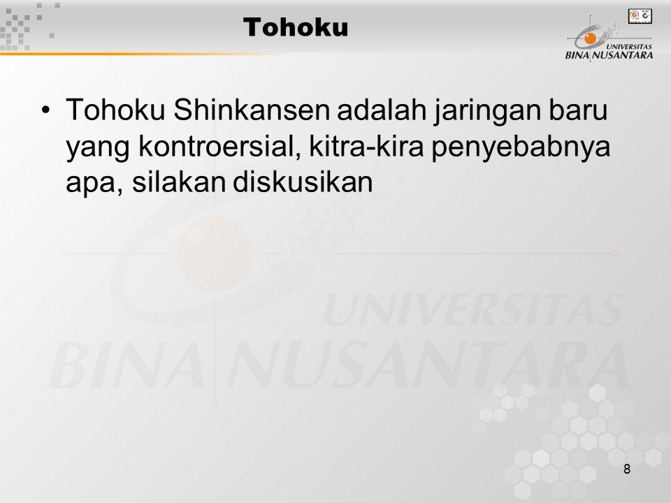 8 Tohoku Shinkansen adalah jaringan baru yang kontroersial, kitra-kira penyebabnya apa, silakan diskusikan