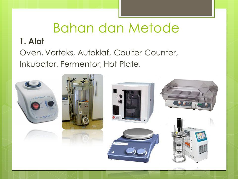Bahan dan Metode 1. Alat Oven, Vorteks, Autoklaf, Coulter Counter, Inkubator, Fermentor, Hot Plate.