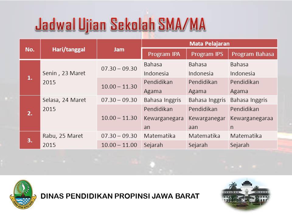 No.Hari/tanggalJam Mata Pelajaran Program IPAProgram IPSProgram Bahasa 1.