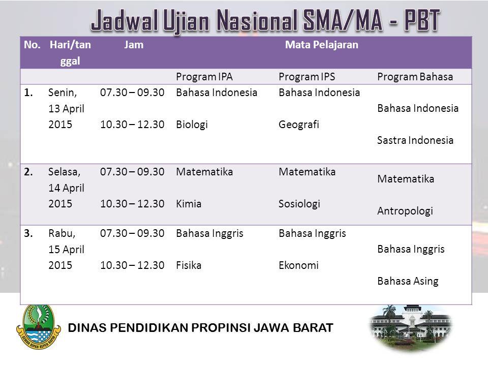 No. Hari/tan ggal JamMata Pelajaran Program IPAProgram IPSProgram Bahasa 1.