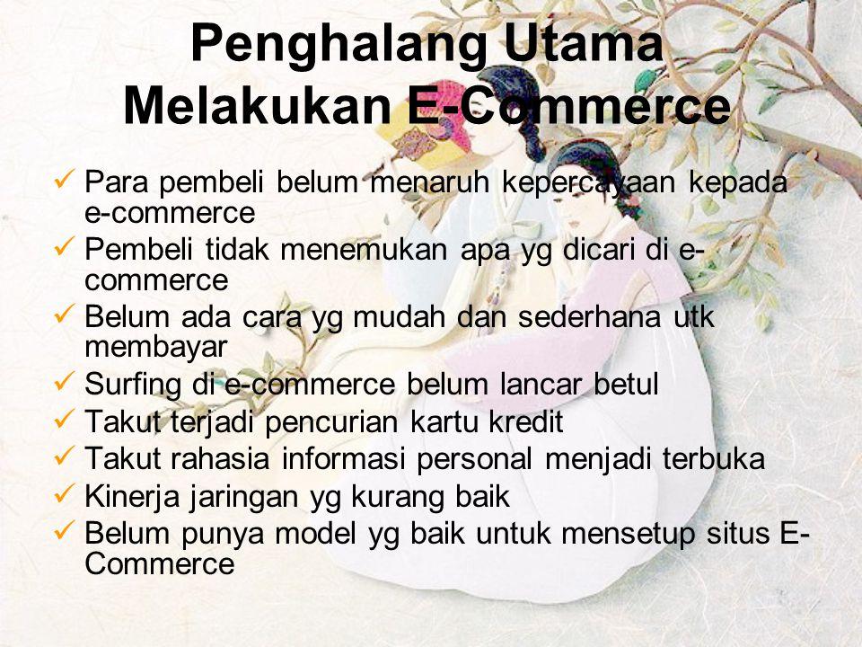 Penghalang Utama Melakukan E-Commerce Para pembeli belum menaruh kepercayaan kepada e-commerce Pembeli tidak menemukan apa yg dicari di e- commerce Be