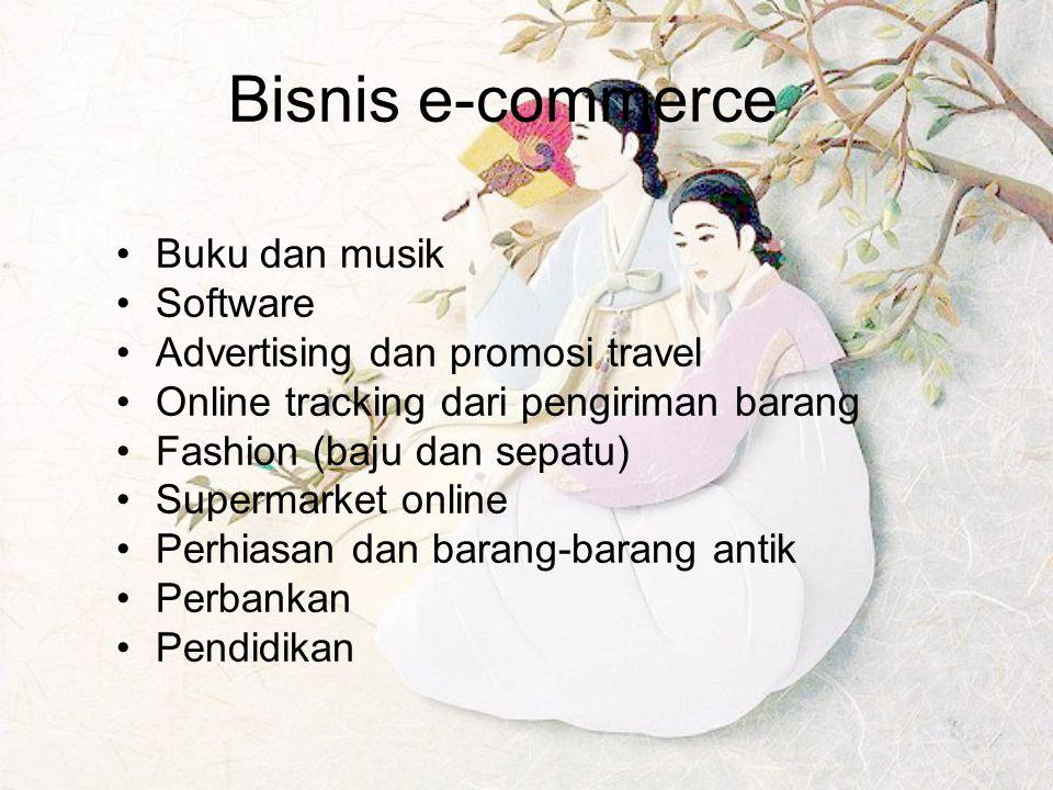 Bisnis e-commerce Buku dan musik Software Advertising dan promosi travel Online tracking dari pengiriman barang Fashion (baju dan sepatu) Supermarket