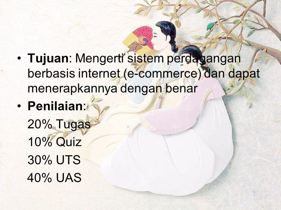 Tujuan: Mengerti sistem perdagangan berbasis internet (e-commerce) dan dapat menerapkannya dengan benar Penilaian: 20% Tugas 10% Quiz 30% UTS 40% UAS
