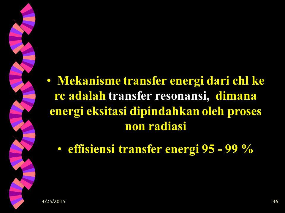 4/25/201536 Mekanisme transfer energi dari chl ke rc adalah transfer resonansi, dimana energi eksitasi dipindahkan oleh proses non radiasi effisiensi