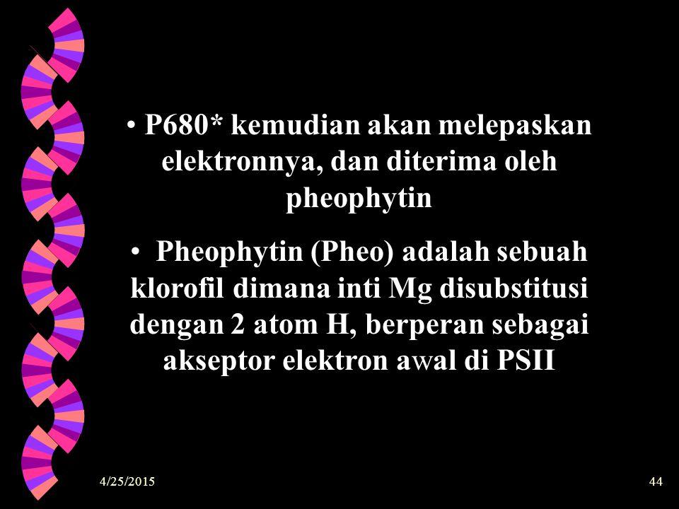 4/25/201544 P680* kemudian akan melepaskan elektronnya, dan diterima oleh pheophytin Pheophytin (Pheo) adalah sebuah klorofil dimana inti Mg disubstit