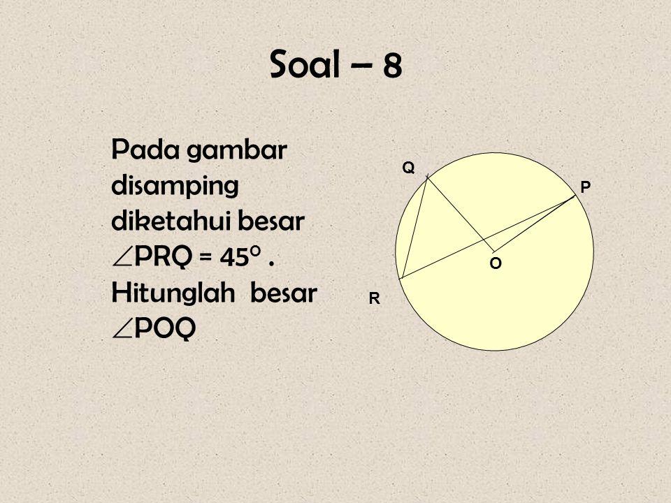 Pembahasan : Sudut pusat = 2x sudut keliling  ACB = ½  AOB = ½ x 100 0 = 50 0 Jadi besar  ACB = 50 0.