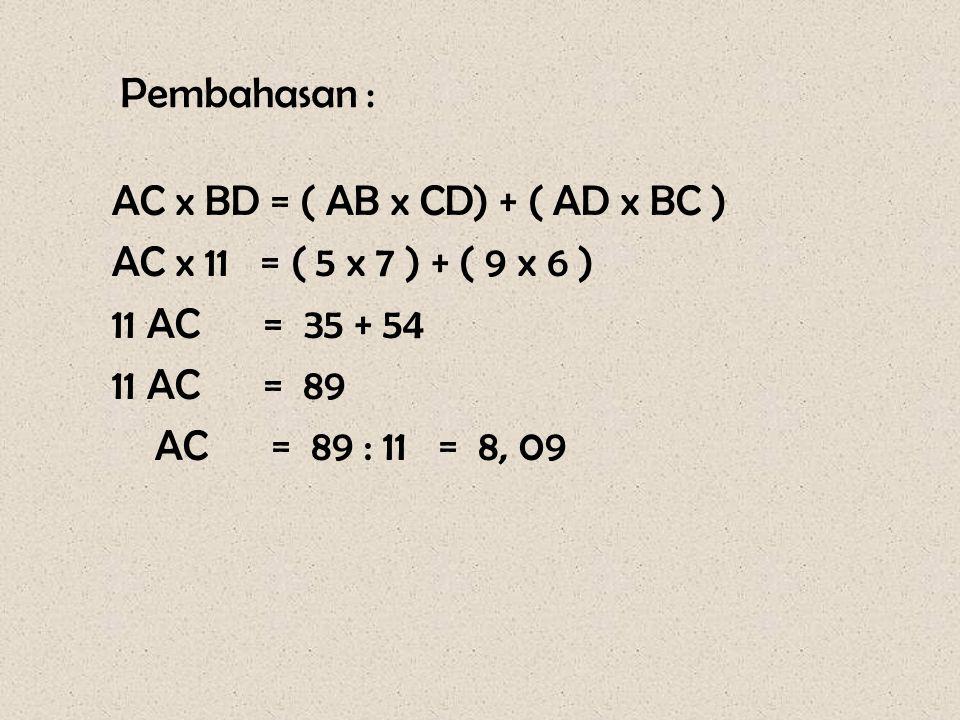 Soal – 11 Pada gambar di samping, segiempat ABCD merupakan segiempat tali busur. Panjang AB = 5 cm, BC = 6 cm, CD = 7 cm, AD = 9 cm, dan BD = 11 cm. H